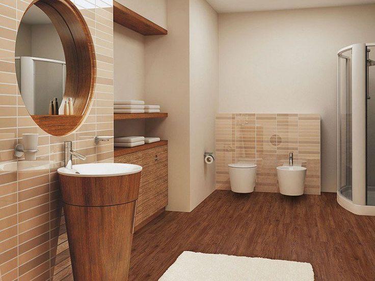 carrelage sol imitation parquet massif, carrelage metro beige et meubles de rangement en bois massif