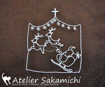 タティング 12月のワンポイントレース サンタとトナカイ 完成 : タティングレース便り ~アトリエ さかみち~