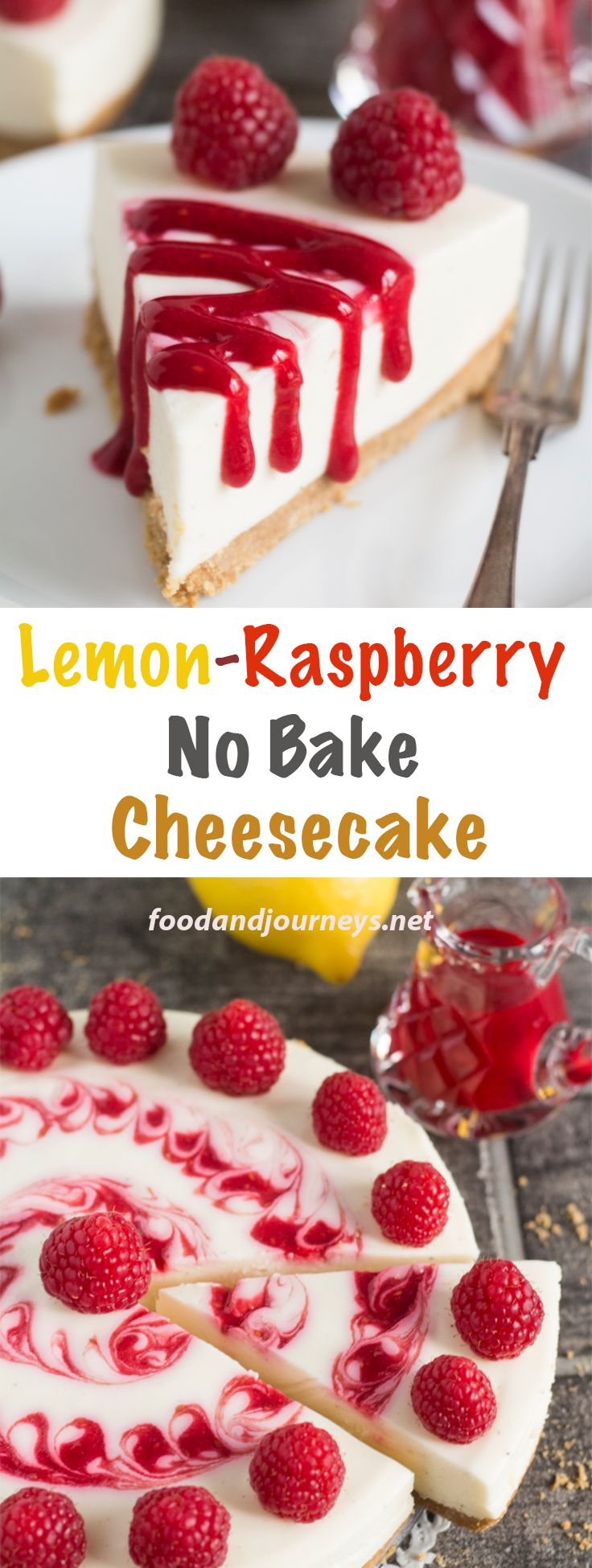 Creamy, sweet and tangy – that's what you get in every scrumptious bite of Lemon-Raspberry No Bake Cheesecake! No need to wait for summer to prepare this treat! Have a slice for snack, dessert or breakfast! No bake Dessert | Cheesecake | Summer Dessert. #nobake #cheesecake #dessert #easydesserts #raspberry