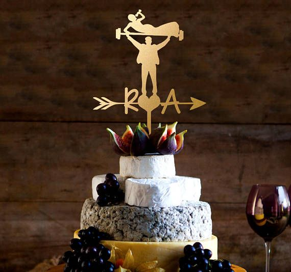 Mr. and Mrs. Body Builders Wedding Cake Topper Body Building