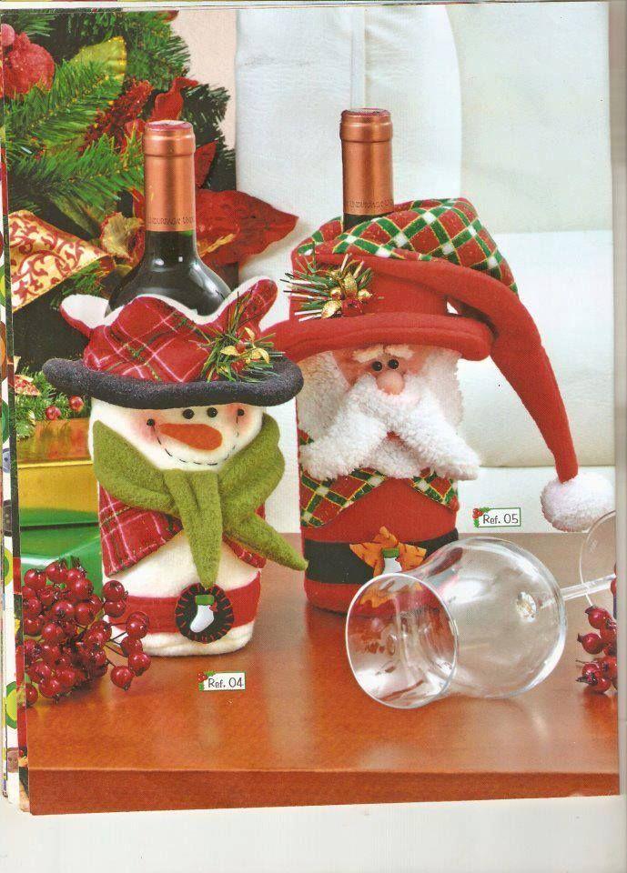 Botellas decoradas navidad moldes pinterest navidad for Botellas de vidrio decoradas para navidad