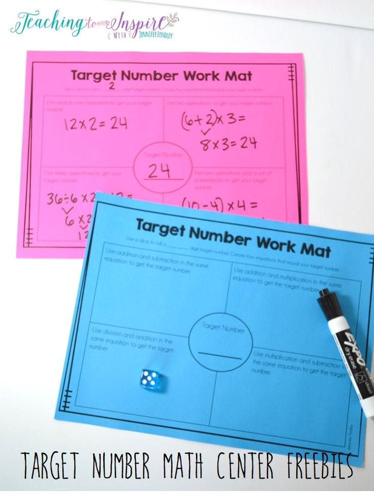 FREE Math Center for Upper Elementary. Grab these free target number mats for an instant center that really gets the students thinking about numbers and math.