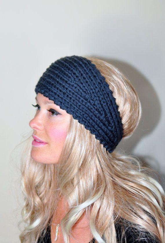 HEADBAND Crochet Earwarmer 100% WOOL Gray Headwrap Choose ...