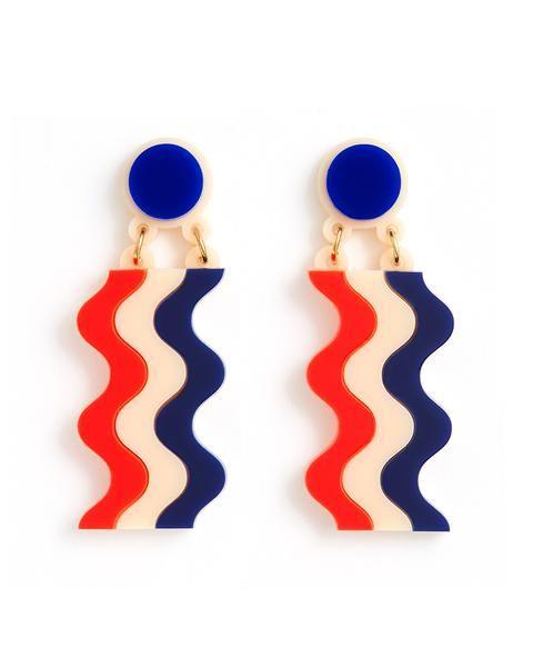 wavy national stripe earrings by jennifer loiselle - earrings - ban.do