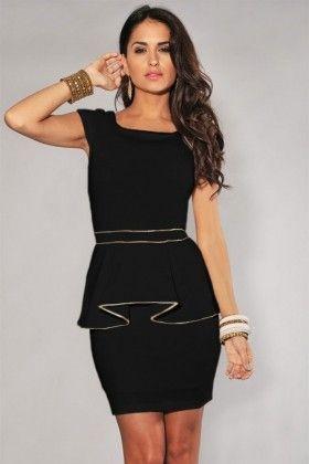Gold trim black peplum dress available from Lush Perfect little black dress #lushwear #fashion #peplum #goldtrim #blackdress #lbd