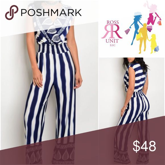 🆕 Feeling Some Kinda Way Jumpsuit Navy blue and white Jumpsuit; Deep cut v- Neckline, cinches at Waist with elastic  96% Polyester, 4% Spandex Sizes: S, M, L Gilli Pants Jumpsuits & Rompers