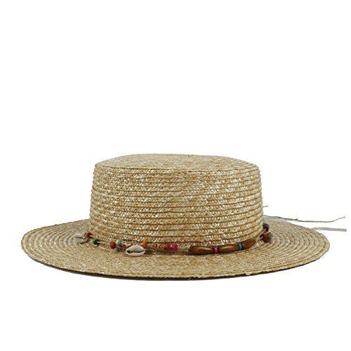 6934aa396b4 XSHYSMB Hawai Sunbonnet Pork Pie Hat Straw Women Boater Sun Hat for Lady Summer  Beach Flat