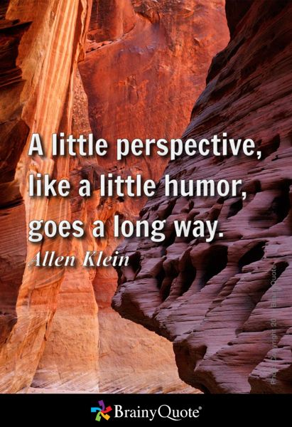 A little perspective, like a little humor, goes a long way. - Allen Klein