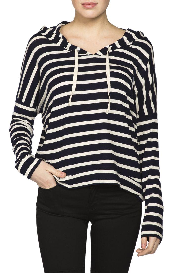 Girls Stripe Slouchy Pullover Hoodie