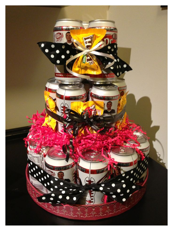 Soda can birthday cake I made for my coworker... She loves diet dr pepper and M&Ms... I used 24 cans, and use large rubber bands to hold the cans together, and dowels to help stabilize the layers.. Accented with ribbon and candy... Easy and cheap birthday gift