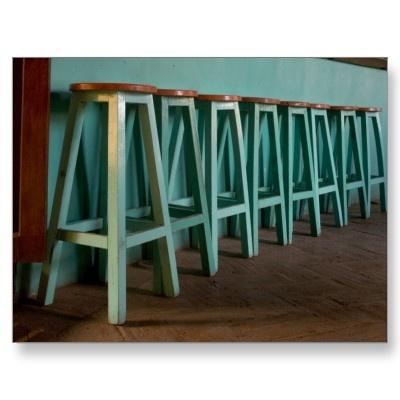 Green bar face, green bar stool legs, wood seat
