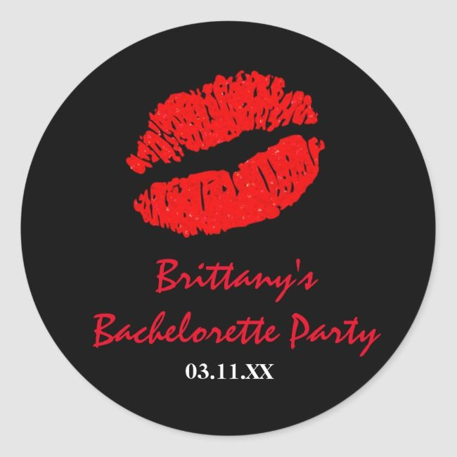 Black Red Lips Kiss Party Favor Sticker Zazzle Com Party