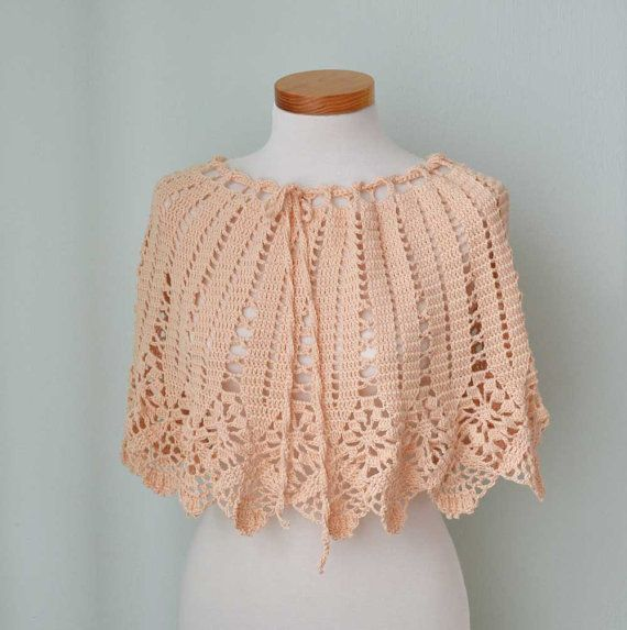 Peach lace crochet poncho skirt top G719 by Berniolie on Etsy