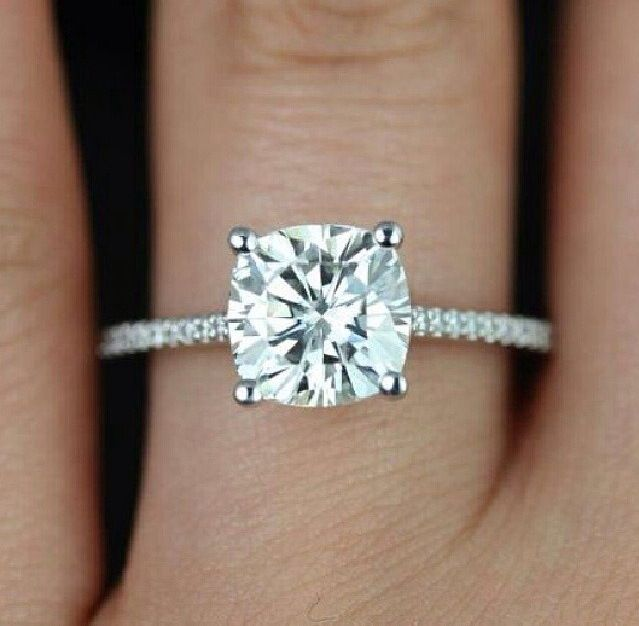 Lovely cushion cut ring. I love that this is cushion cut with a round cut setting. I can't decide on this or a halo. So gorgeous <3