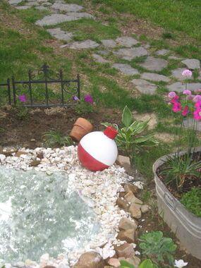 Fishing Bobber Bowling Ball - JUNKMARKET Style - such a cute idea!