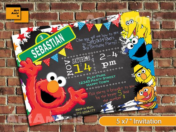 Elmo Birthday Invitation Elmo Birthday Invite Sesame by ArtAmoris
