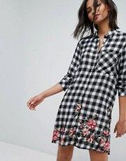 Stradivarius Check Mini Shirt Dress With Floral Print