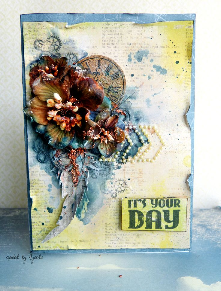 ScrapBerry's: Vintage mix media aard by Aida Domisiewicz, Papers Antique Shop, Curls , stamp, handmade mulberry paper flowers, set of clocks - all ScrapBerry's
