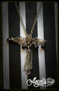 Filigree Bat with Beads and Chain Necklace