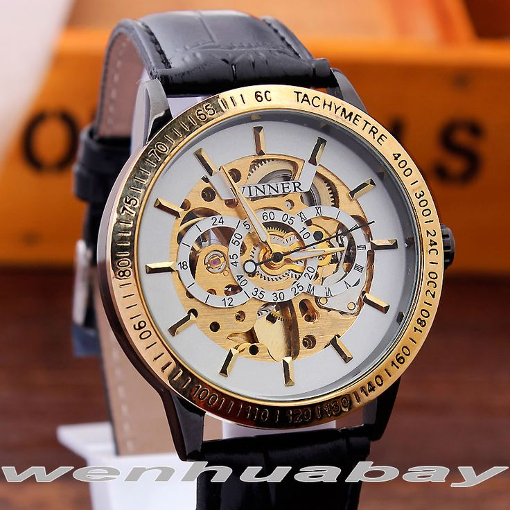 Vintage Black Gold Men's Mechanical WristWatch Antique Steampunk Automatic Skeleton Leather Male Watch Luxury Relogio Masculino //Price: $US $16.05 & Up To 18% Cashback //     #steampunktendencies