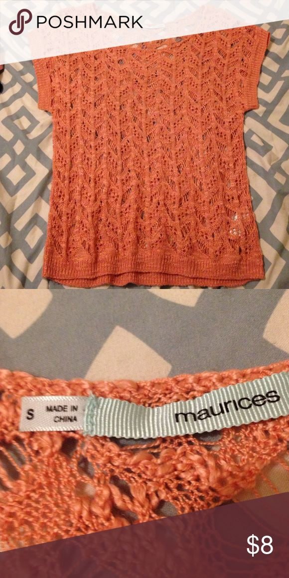 Crochet salmon top Really versatile top, with a long sleeve undershirt for colder days as well, a pretty color and over all must have❤️ Maurices Tops Blouses