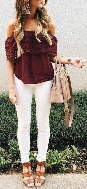 Merlot off the shoulder top & white skinny jeans.