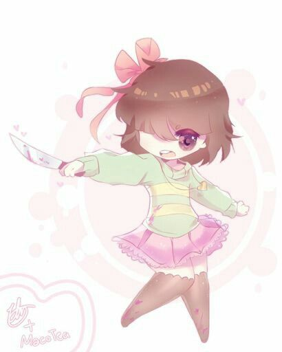 Chara wearing 1 set balerina clothes (holding a Knife)