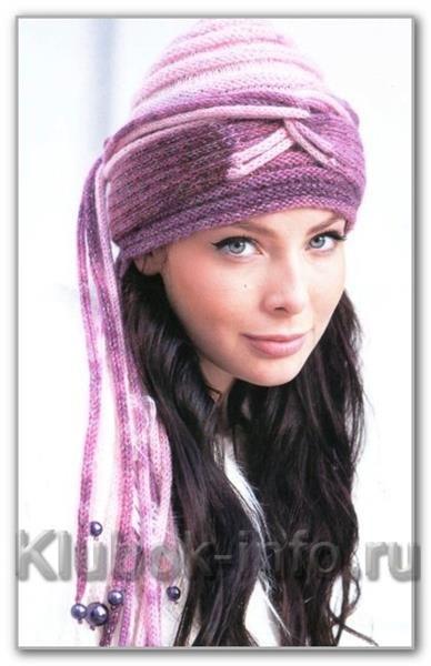 Вязаная шапка женская чалма спицами