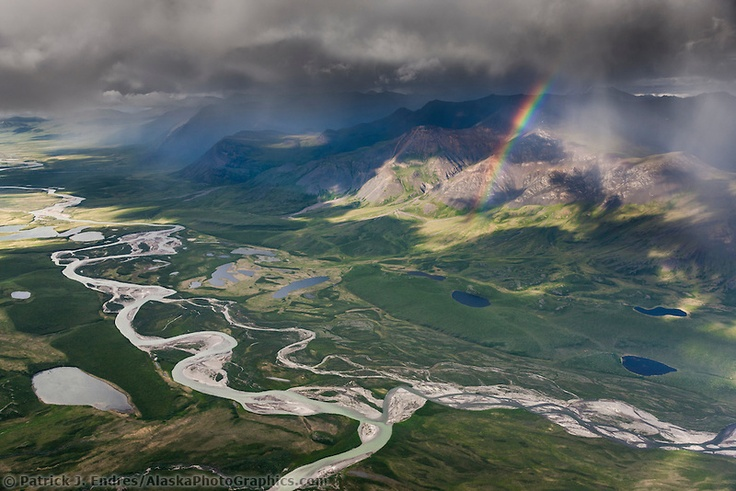 """Easter Creek and Kilik River confluence -- Aerial of the Brooks Range mountains, arctic Alaska. Confluence of Easter Creek and Kilik River, Gates of the Arctic National Park."" (With rainbow bonus!) Prints available at click-through; photo by Patrick J. Endres."