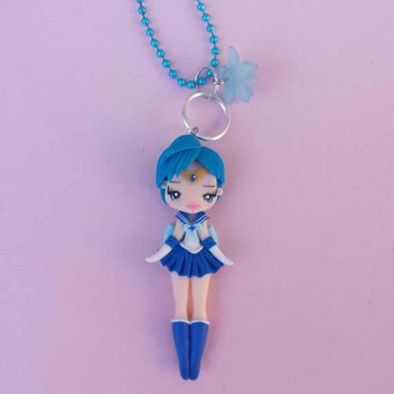 collar sailor moon mercury in fimo polymer clay por Artmary2