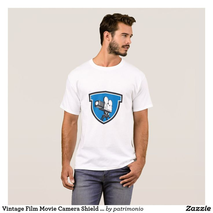 Vintage Film Movie Camera Shield Retro T-Shirt. T-shirt for men with an illustration of a vintage motion picture camera set inside a shield done in retro style. #moviecamera #carmera #tshirt