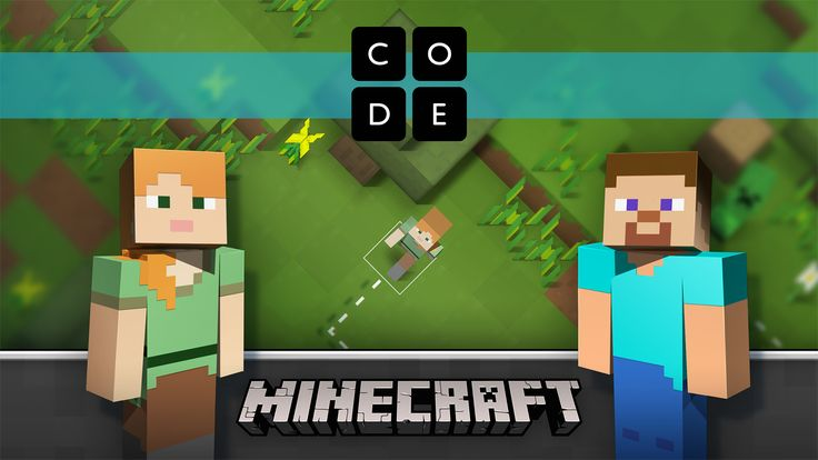 Use blocks of code to take Steve or Alex on an adventure through this Minecraft world