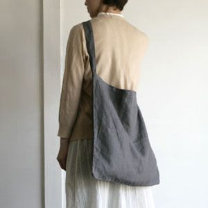 Fog Linen Work Johann tote $38.00 Carry-all / book bag JOHANN ACROSS THE CHEST TOTE BAG GREY size: 48 X 45 X 70 cm linen 100% / made in Lithuania Available in grey and natural.