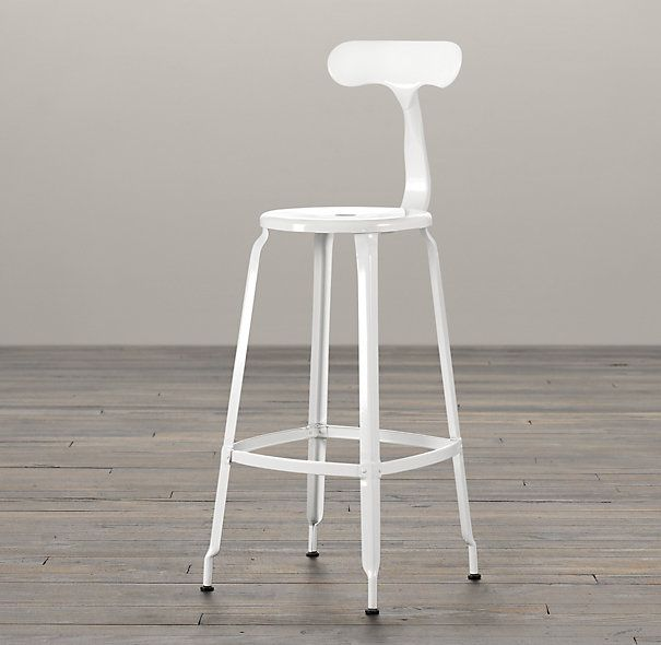 RHu0027s French T Back Stool:Popularized In French Factories, Our  Industrial Inspired Stool Is Built Of Metal From Backrest To Base.