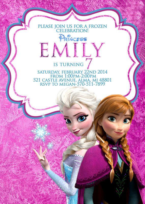 Disney Frozen Invitation, Frozen Invitation, Elsa And Anna Invitation, 1st birthday, 2nd birthday, 3rd, 4th, 5th, 6th, 7th, PRINTABLE