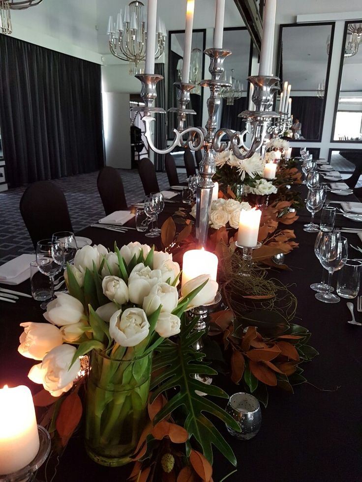 All white flowers with candelabra