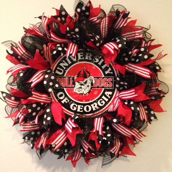 Georgia Bulldogs Wreath  University of Georgia by BayWreathDesigns