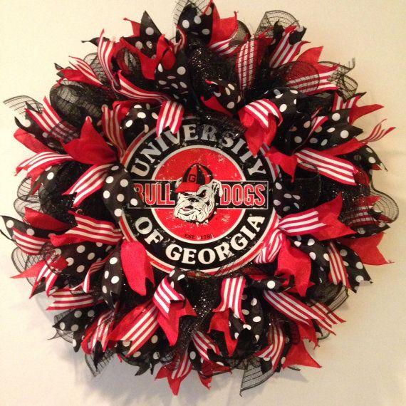 Georgia Bulldogs Wreath  University of Georgia by BayWreathDesigns