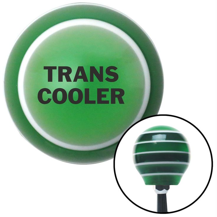 Black TRANS COOLER Green Stripe Shift Knob with M16 x 15 Insert