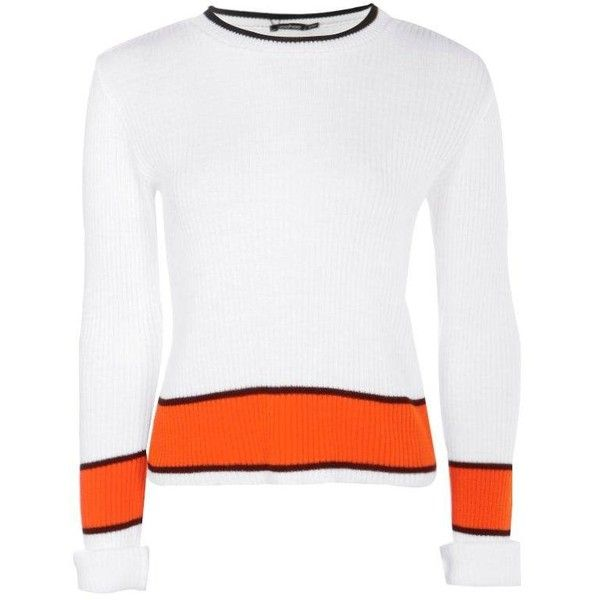 Boohoo Jessica Rib Knit Stripe Crop Jumper ($16) ❤ liked on Polyvore featuring tops, sweaters, white knit sweater, ribbed knit sweater, cropped tops, chunky knit sweater and knit turtleneck sweater