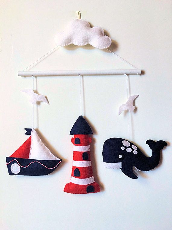 #felt #mobile #wall #baby #nautical #navy #whale #minimez #etsy #sea
