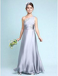 Lanting+Bride®+Floor-length+Chiffon+Junior+Bridesmaid+Dress+Sheath+/+Column+One+Shoulder+with+Side+Draping+/+Ruching+–+AUD+$+100.09