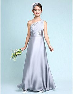 Lanting+Bride®+Floor-length+Chiffon+Junior+Bridesmaid+Dress+Sheath+/+Column+One+Shoulder+with+Side+Draping+/+Ruching+–+AUD+$+100.09