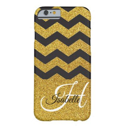 Glam Gold Glitter Black Chevron iPhone 6/6s Case - calligraphy gifts unique style cyo customize