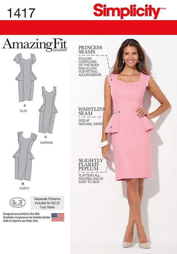 Peplum Dress Pattern Simplicity 1417 Amazing Fit by PatternParlor, $5.95