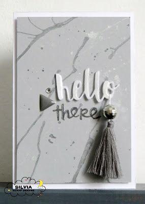 card monocromatica grigia effetto marmo con nappa, utee embossing, moniocromatic grey card marble effect with tassel