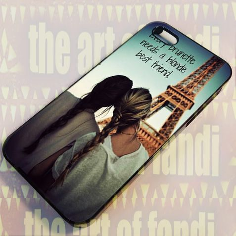 BFF Blonde and Brunette For iPhone 4 or 4s Black Rubber Case
