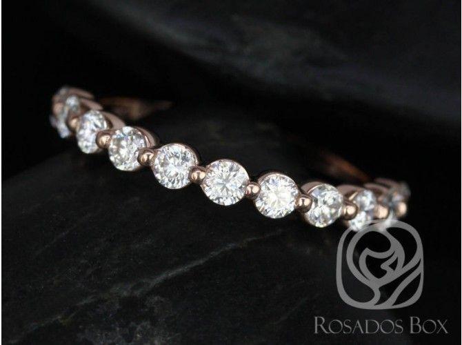 Rosados Box Diamond Free Naomi 2 5mm 14kt Rose Gold Round F1 Moissanite Halfway Eternity Band
