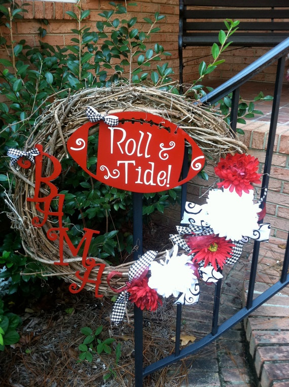Alabama Wreath with Metal Football and by mountainridgedesigns, $65.00