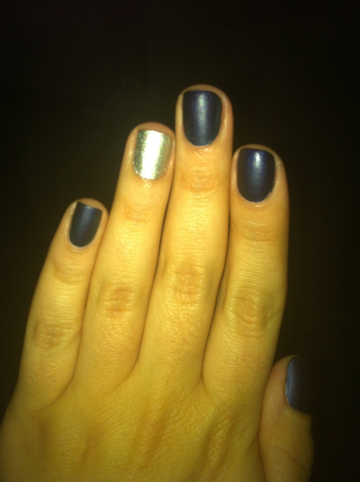 Russian Navy with Silver accent nail (matte finish)
